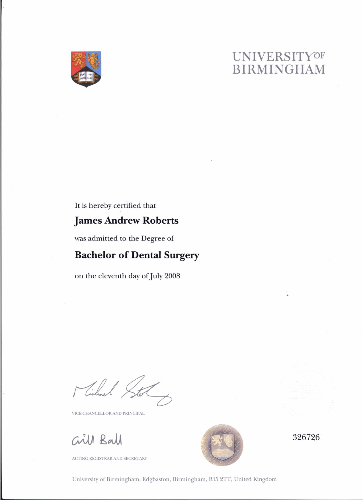 July 2008 – Completion of Bachelor of Dental Surgery