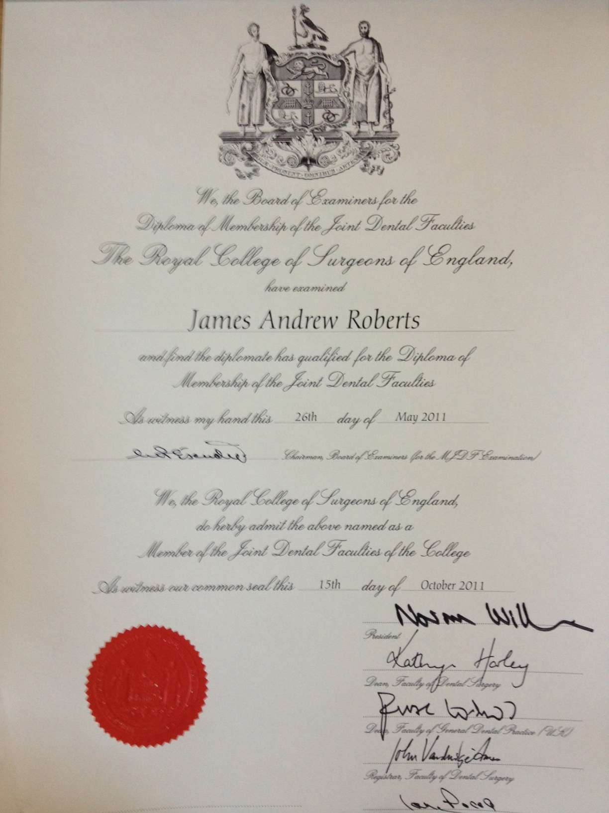 May 2011 – Received the Diploma of Membership of the Joint Dental Faculties from the Royal College of Surgeons of England