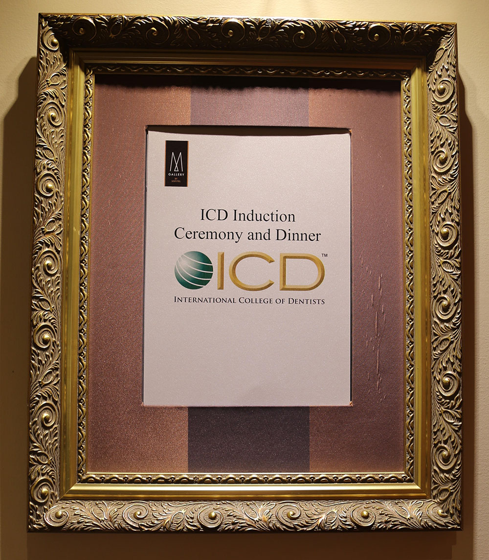 Certificate of attendance for the ceremony dinner for the international college of dentists