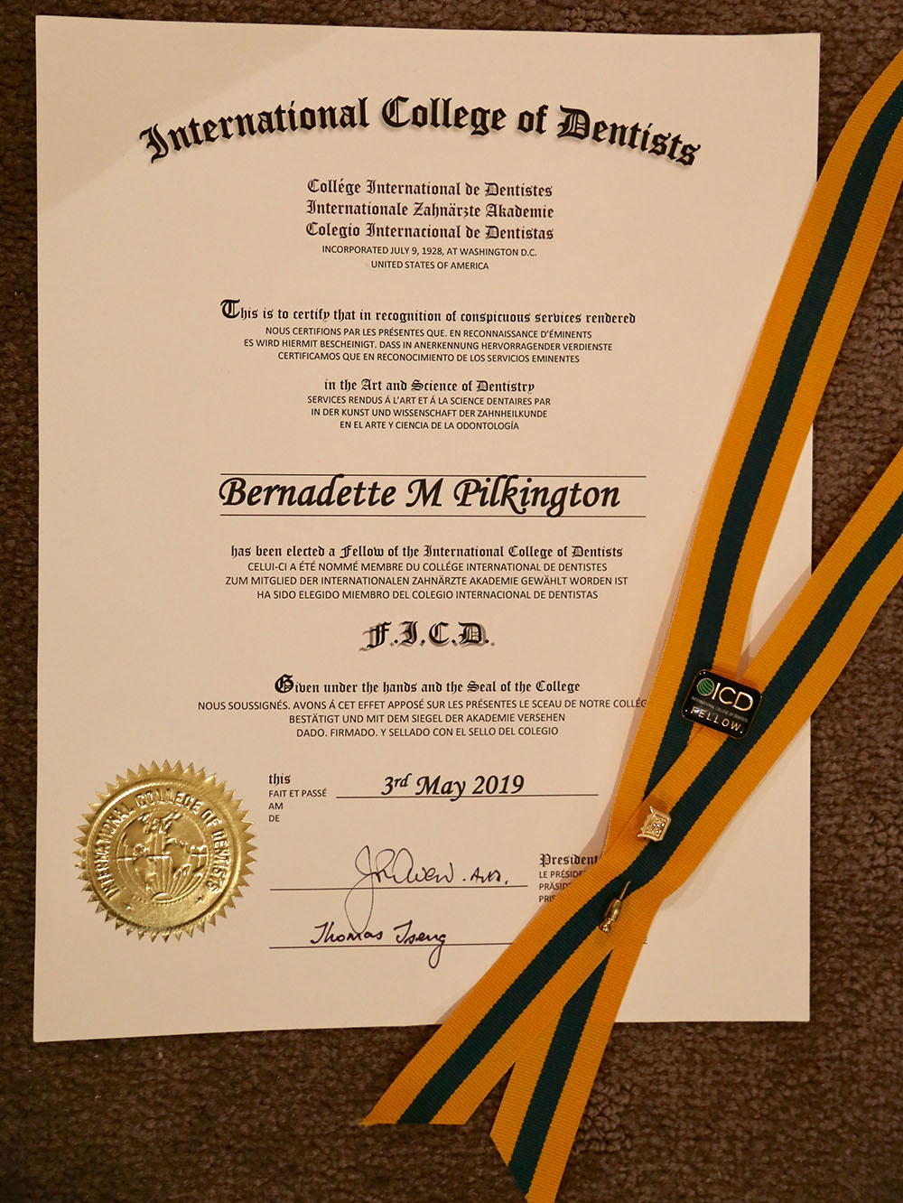 Certificate for election into the international college of dentists